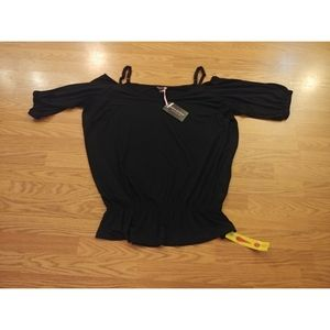 Anna Scholz Top blouse Size 24 black short sleeve